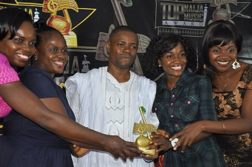 Winners of Best Music Group, TheSwithins receiving their award.