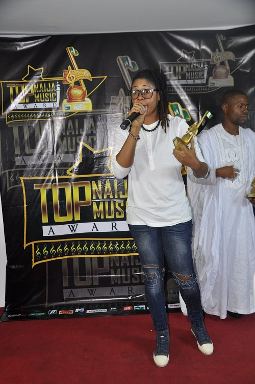 Shuleydee with her Highlife Act With Potential Award.